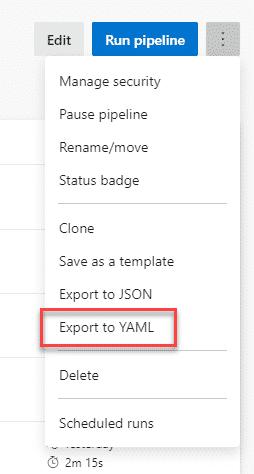 Export pipeline to YAML