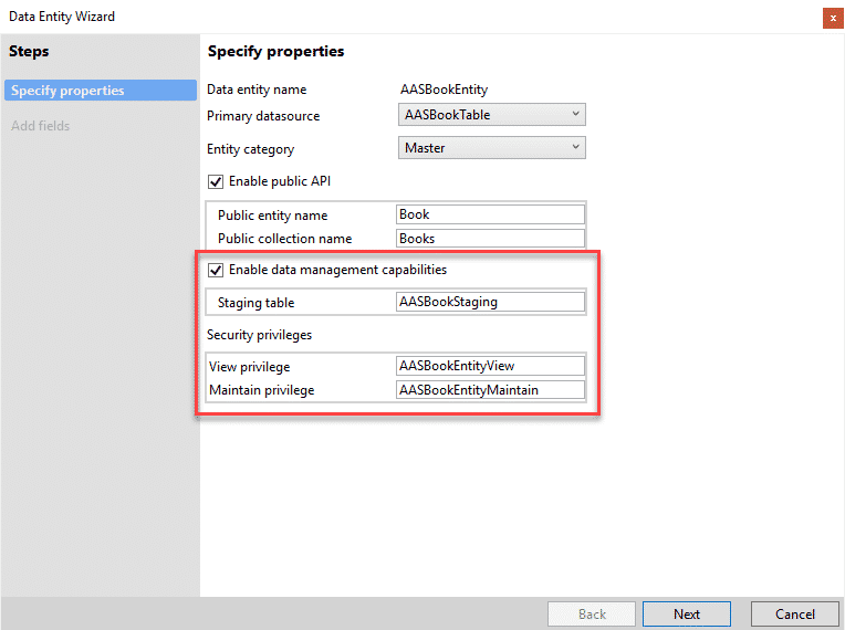 Dynamics 365 Finance and Operations Data entity wizard