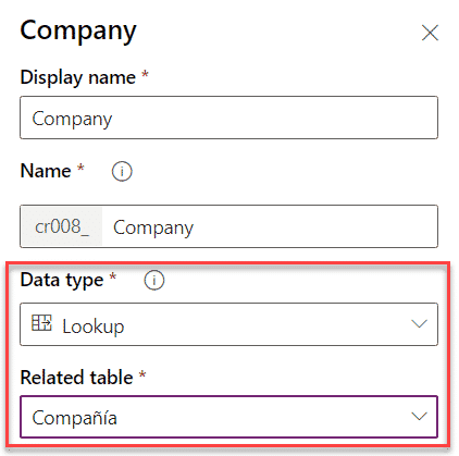 Company field related to table company